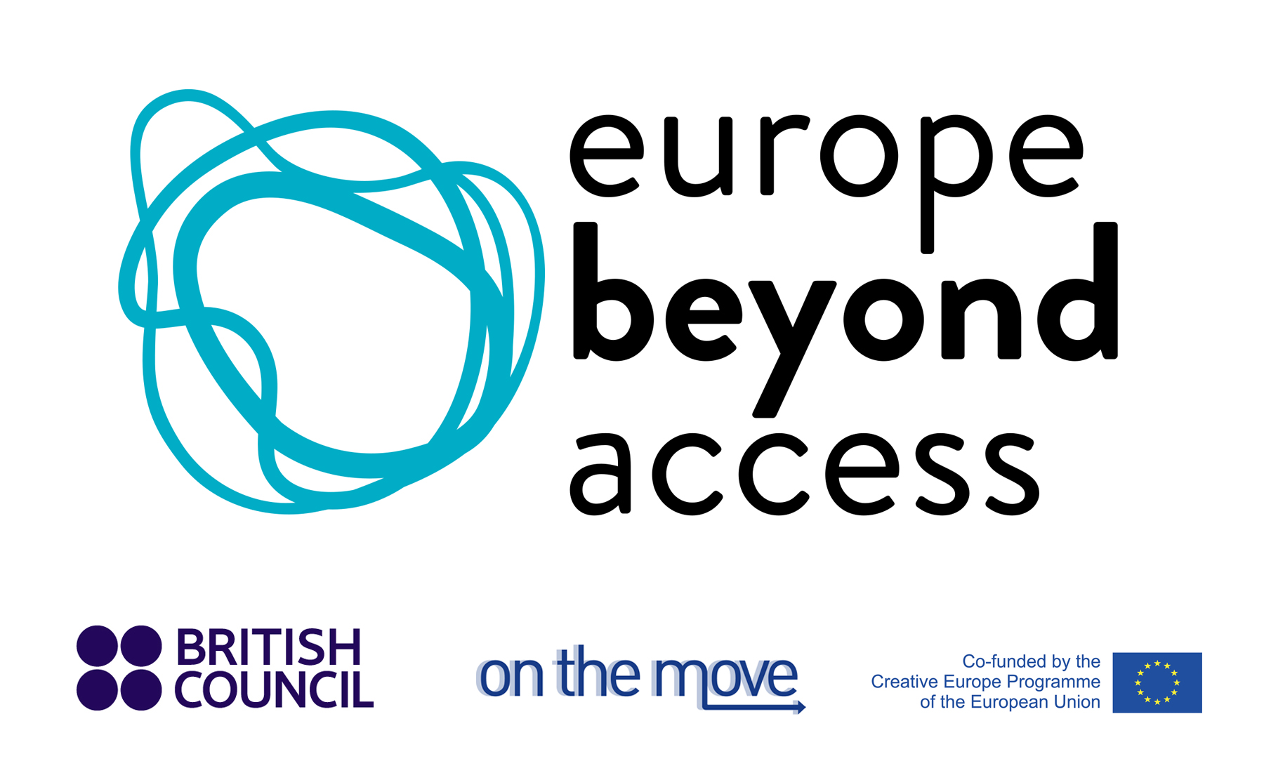 Large logo: 'Europe Beyond Access' next to a graphic of three wavy, overlapping blue circles. Below this, simple logos for British Council, On the Move, and the Creative Europe programme.